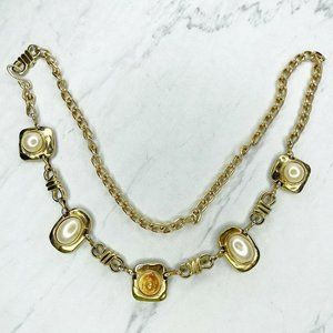 Gold Tone Faux Pearl Studded Concho Chain Belt